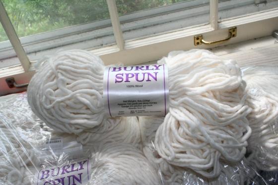 6 skeins (or more) Burly Spun, in cream