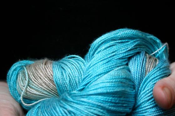 2 skeins Sea Silk, ~ 875 yards, in Glacier (I think)