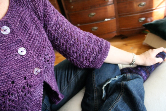 FLS, now with buttons! (and matchy purple handknit socks)