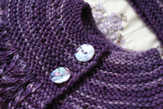February Baby Sweater, in Socks that Rock, Tanzanite
