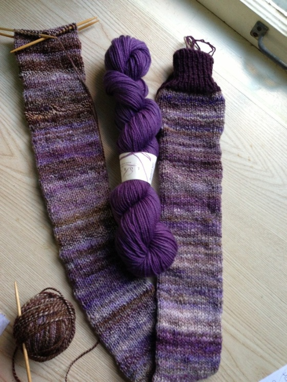 Lorna's Laces Shepherd Sport with my handspun Pigeonroof Fiber Studios BFL in Cut & Paste Socks