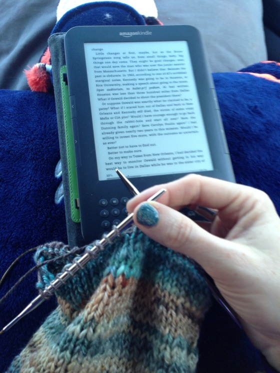 knitting and reading while traveling