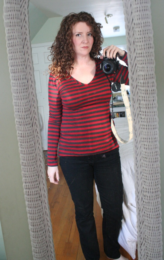 striped knit v-neck