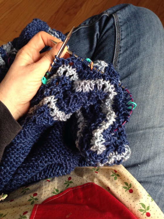 A little knitting with my apron on