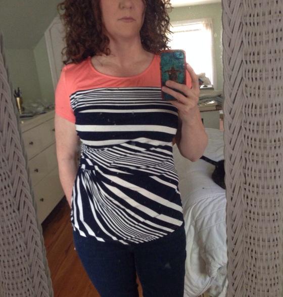Franklin Striped Side Gathered Short Sleeve Shirt
