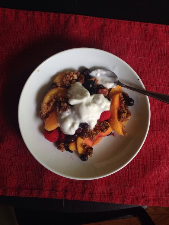 Paleo Peach-Berry Crisp with Coconut Cream